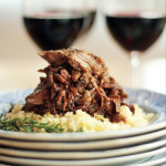 slow cooked lamb with jammy red wine ane fruit