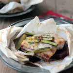 White fishand veggies en papillote