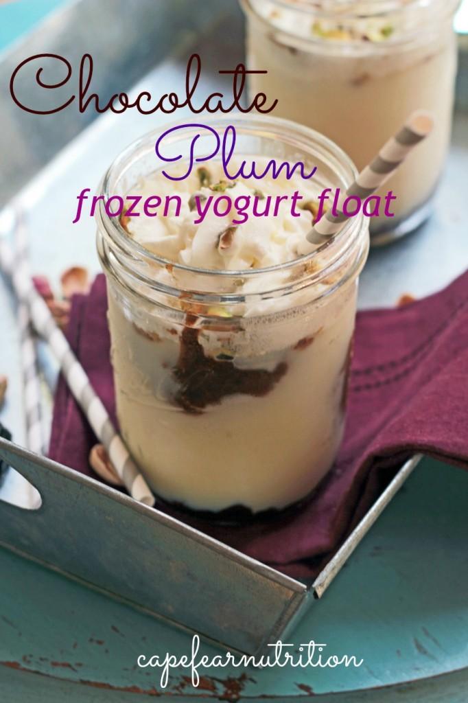 chocolate plum frozen yogurt float