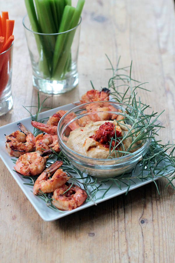 Grilled Barbecued Shrimp with Hummus