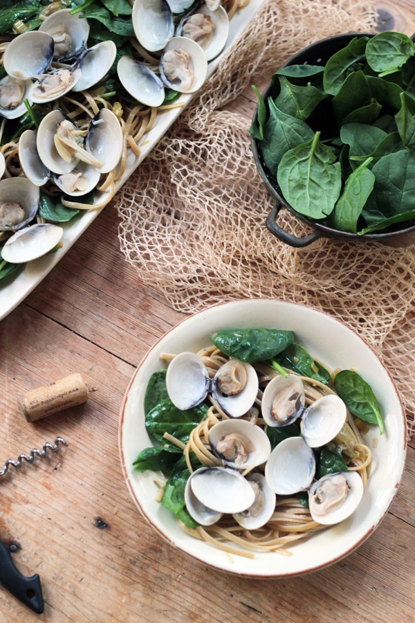 Linguine with Clams and Baby Spinach