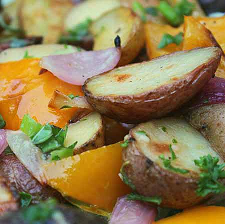 Grilled Fingerling Potato Salad with Herb Vinaigrette
