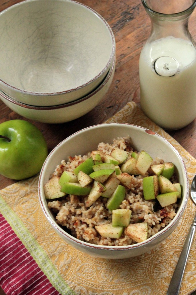 Irish Oatmeal topped with Apples, Cinnamon and Sugar