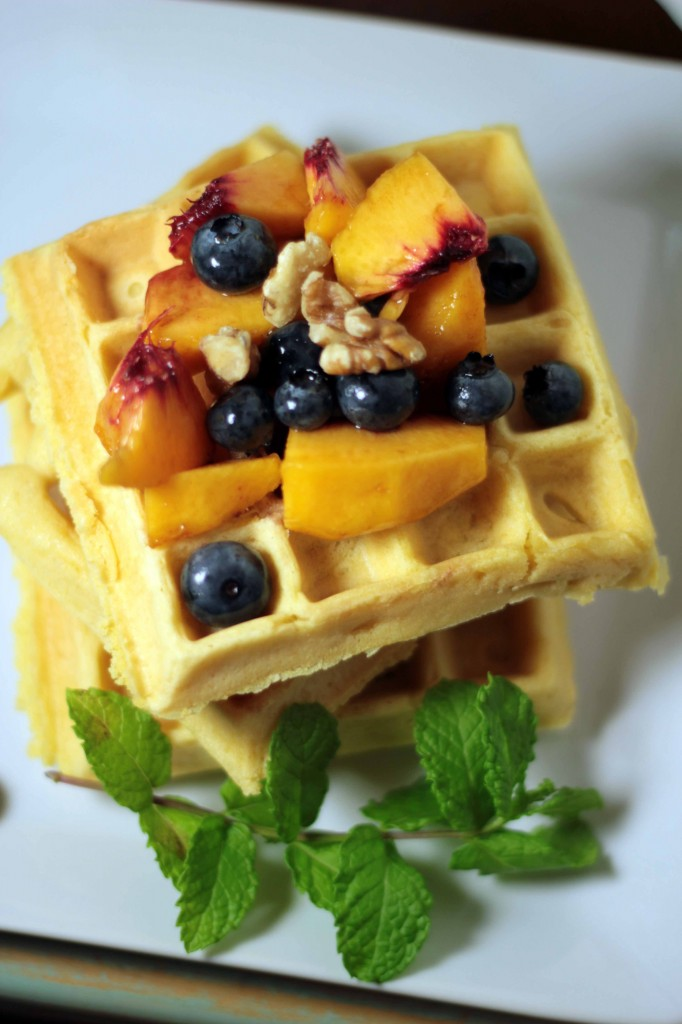 Belgium Waffles and Fresh Fruit with Balsamic Vinegar