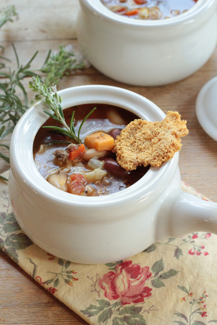 Pasta Fagioli with Parmesan Wafers