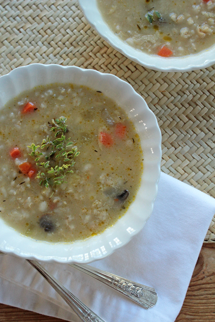 Crockpot Mushroom Barley Soup