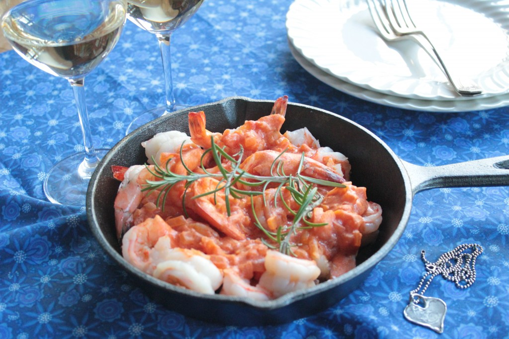 Shrimp in a Skillet with Creamy Tomato Sauce