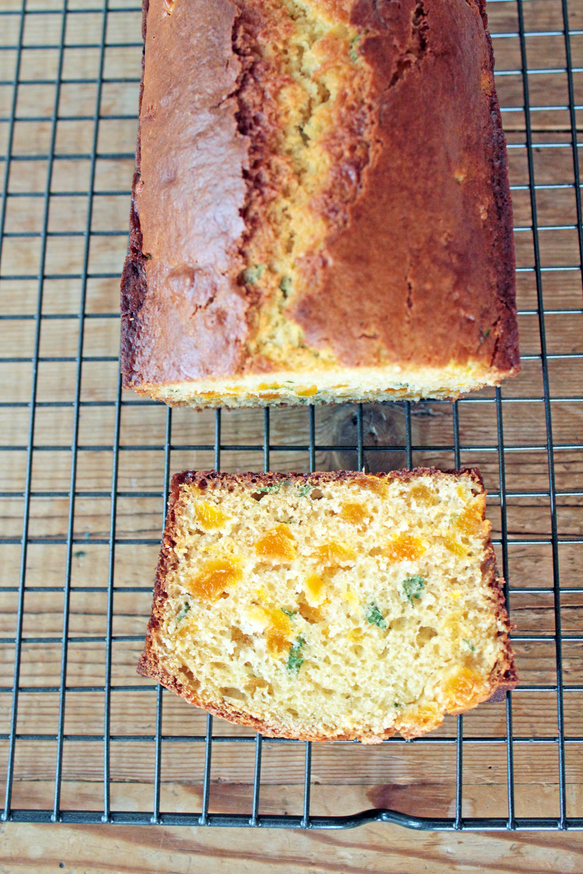 Apricot Basil Bread is the perfect spring quick bread and only 144 calories per slice.