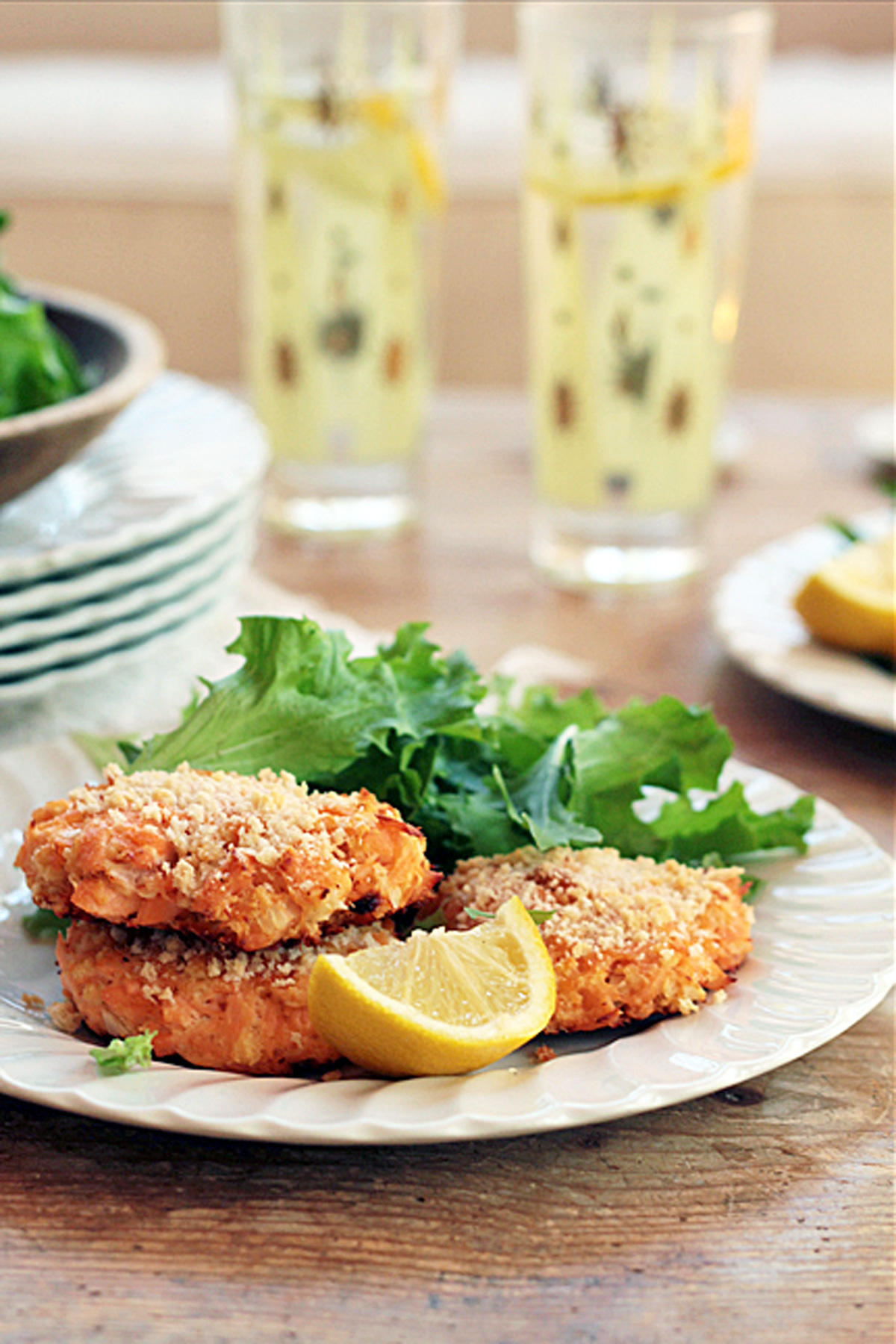 Salmon patties are great in a bun or as a salad topper.