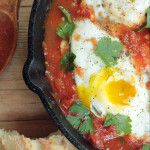 Baked eggs in a tomato Matcha Sauce