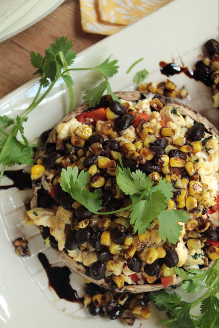 Stuffed Portabella Mushrooms with Corn and Black Bean Relish