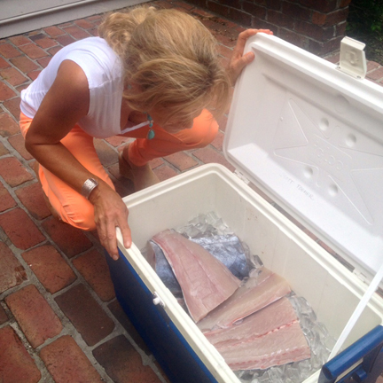 Fishing promise fulfilled:cooler of Wahoo