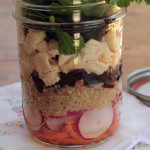 quinoa salad with chicken, carrots and beets in a mason jar