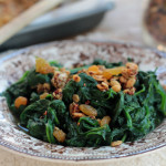 Sauteed Spinach with Granola and Raisins