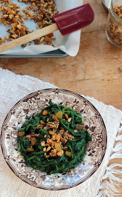 Sautéed Spinach with Sweet & Savory Granola