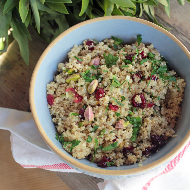 Quinoa Pilaf with Pistachios and Cranberries