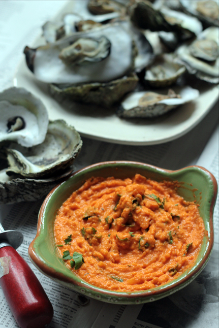 Steamed Oysters with Smokey Peach Sauce