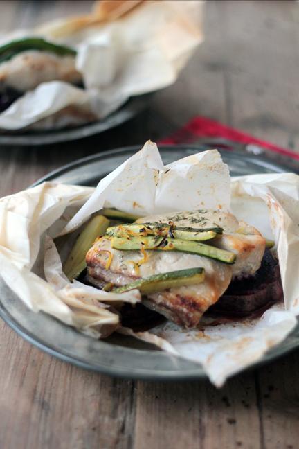 White fish and veggies en papillote