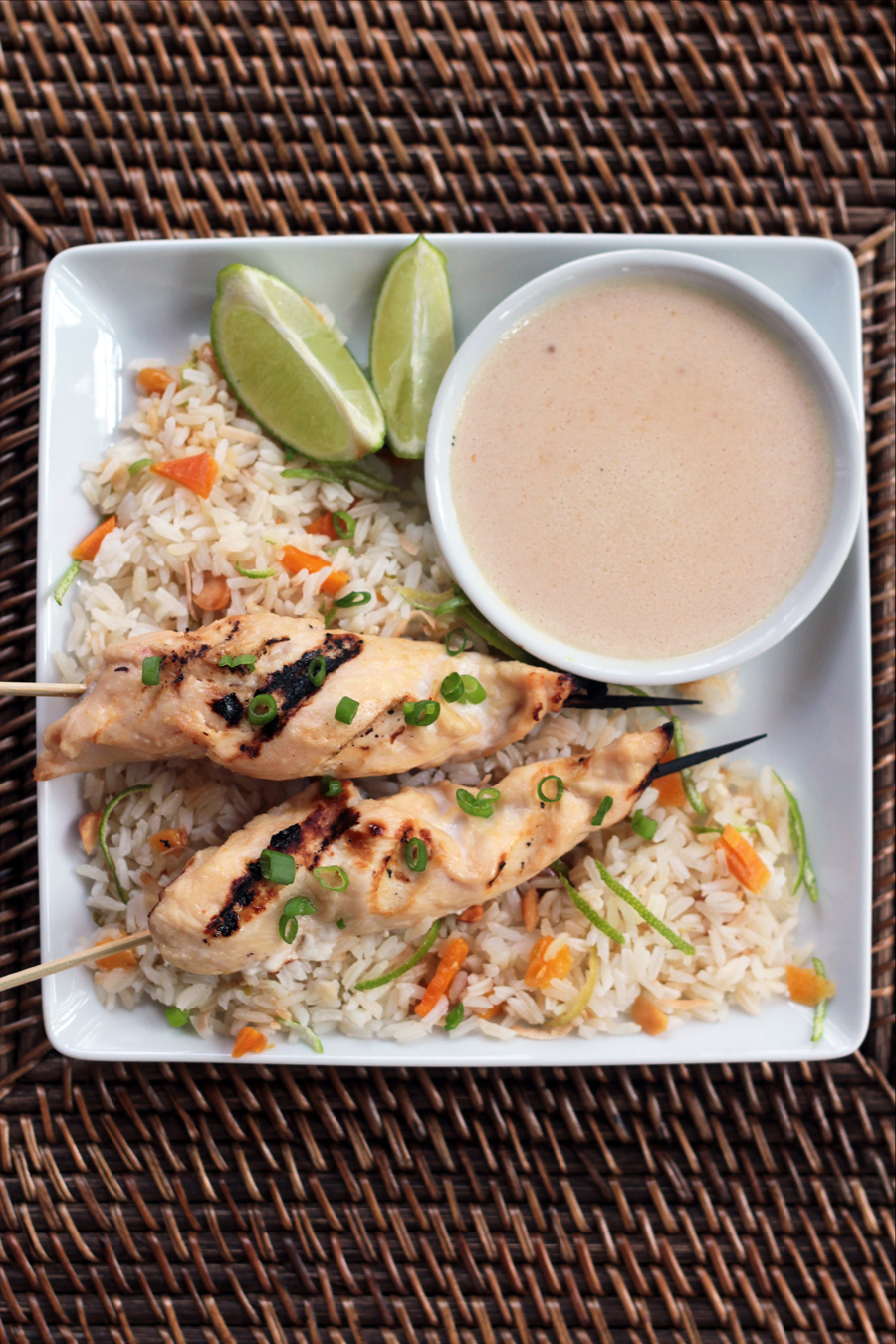 Chicken Satay with Coconut and Mango Jasmine Rice