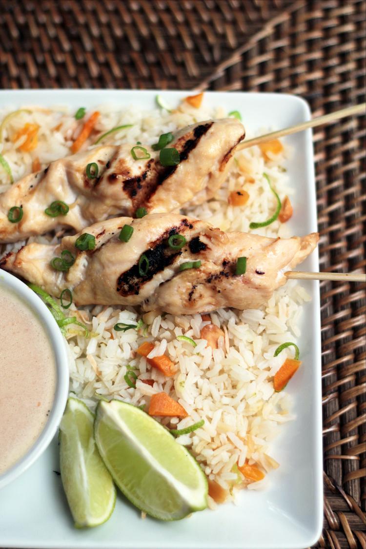 Chicken Satay with Coconut and Mango Jasmine Rice