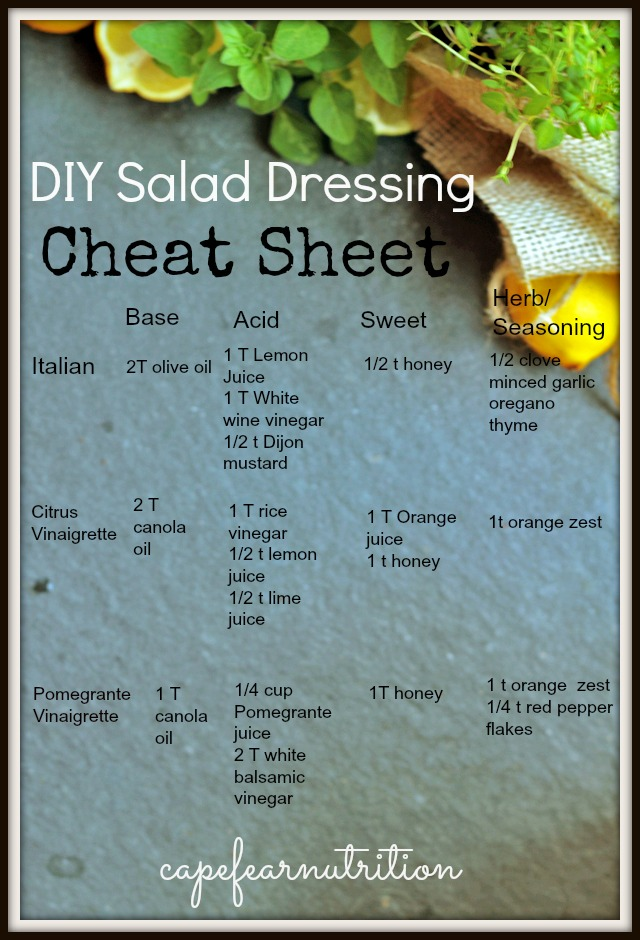 DIY Salad Dressing Cheat Sheet