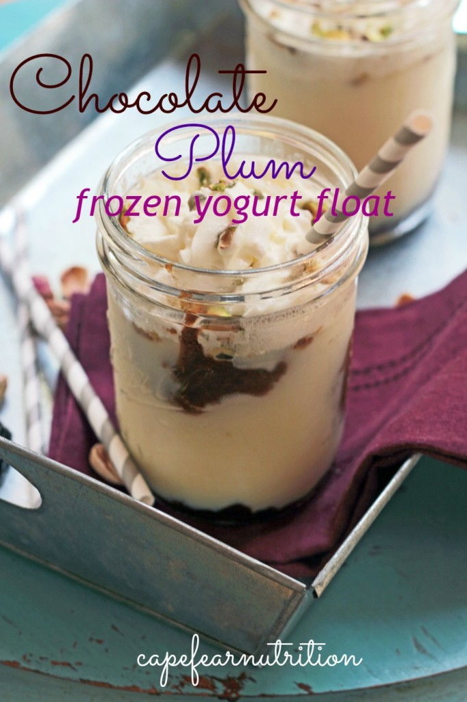 chocolate plum frozen yogurt float