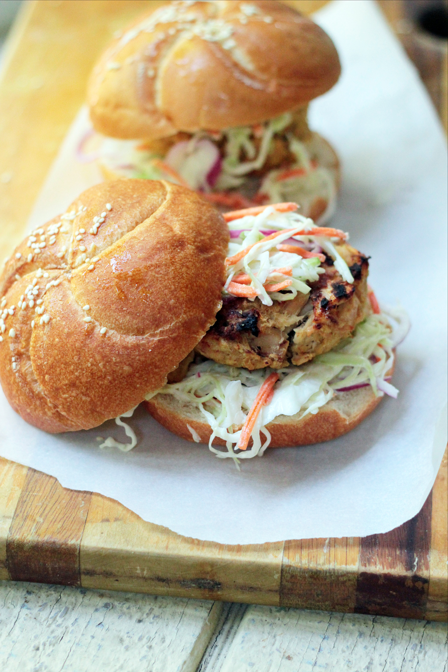 Grilled Tuna Burgers with wasabi slaw