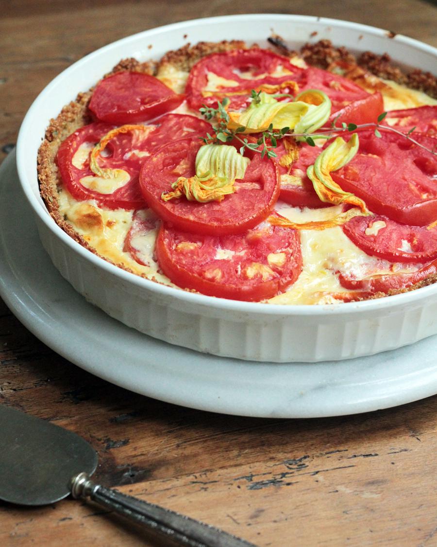 fresh from the garden:tomato cheddar pie