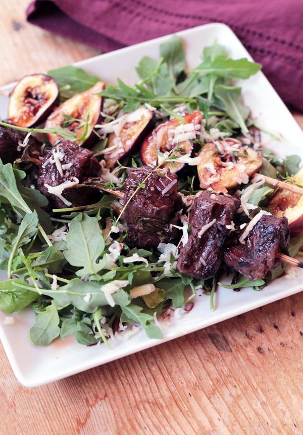Grilled Beef & Fig Kabob Salad with Merlot Vinaigrette