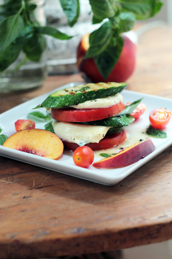 Peachy Grilled Zucchini Caprese Stacks