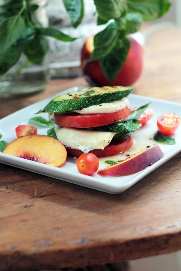 Peachy Grilled Zucchini Caprese Stacks