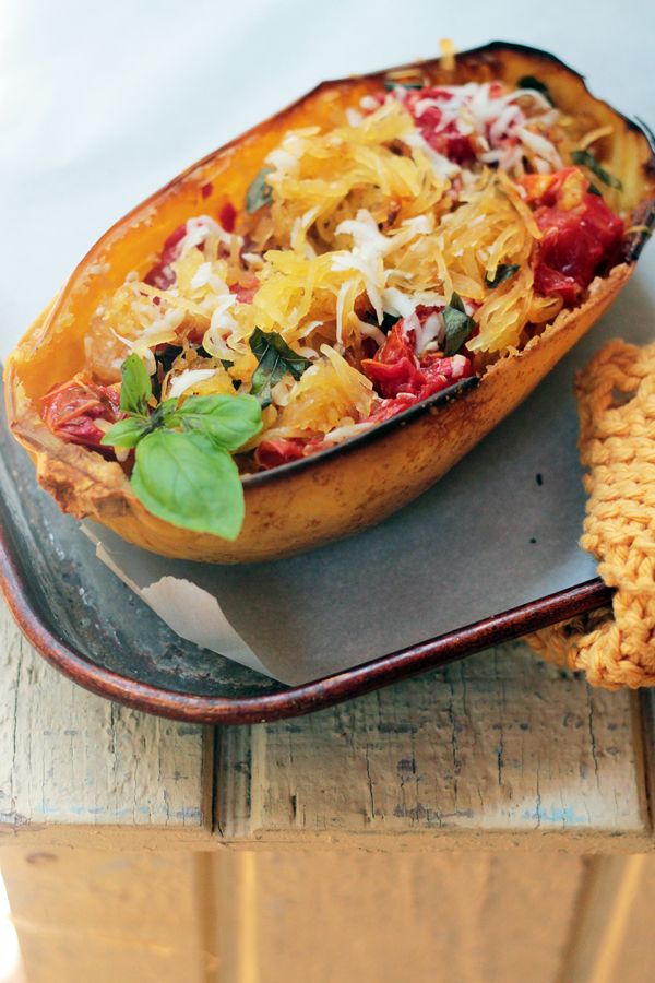 Spaghetti Squash with Roasted Tomatoes and Basil