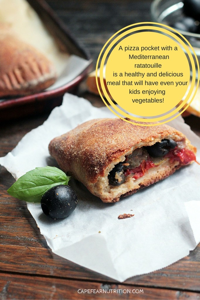 Mediterranean Calzones are filled with a ratatouille made in the slow cooker.