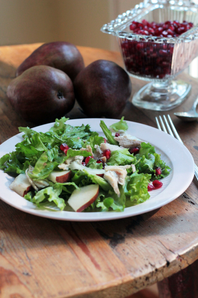 Pear Pomegranate Salad with Turkey