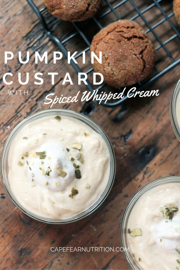 Pumpkin Custard with spiced whipped cream