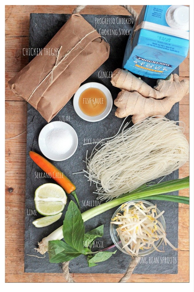 ingredients for quick Chicken Noodle Pho