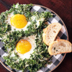 Sheet pan kale and egg bake