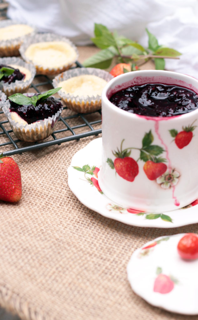 CheeseCake Bites with Berry Coulis are easy to make and fit into a healthy lifestyle.